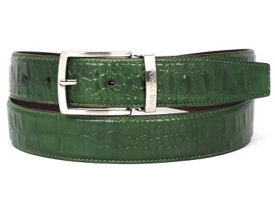 Paul Parkman Crocodile Embossed Calfskin Hand Painted Leathe...