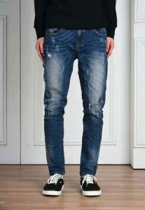 Spy Henry Lau Zipper Hem Washed & Distressed Jeans Pants PH898MPTBUE