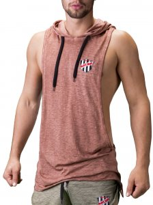 Barcode Berlin Benjy Large Armhole Hoody Muscle Top T Shirt Rust 91197-1705