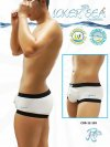 Icker Sea Contrast Trim Square Cut Trunk Swimwear White/Black COB-12-103