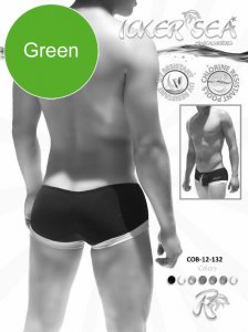 Icker Sea Contrast Trim Mini Square Cut Trunk Swimwear Green...