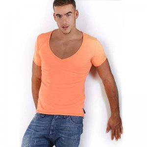 Roberto Lucca Slim Fit Deep V Neck Short Sleeved T Shirt Neon Orange 80223-00181