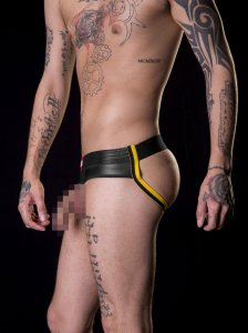 Barcode Berlin BlowBob Pouchless & Backless Jock Strap Underwear Black/Yellow 91155-102