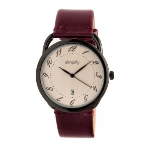 Simplify The 4900 Leather-Band Watch w/Date - Black/Bronze/Plum SIM4904