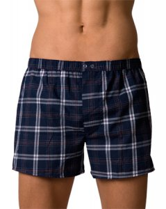 Lord Popline Checker Boxer Shorts Blue Underwear 7110BLUE