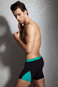 Doreanse Contrast Side Insert Boxer Brief Underwear Black/Turquoise 1754