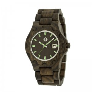 Earth Wood Gila Bracelet Watch w/Magnified Date - Dark Brown ETHEW3302