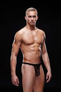 Envy Fishnet Sport Thong Underwear Black E012