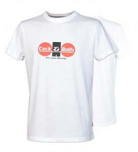 Cock&Balls Classic Short Sleeved T Shirt White 10015-01