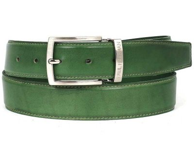 Paul Parkman Hand Painted Leather Belt Green B01-LGRN