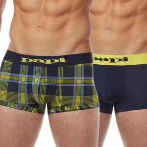 Papi [2 Pack] Microflex Plaid Brazilian Trunk Underwear Yellow & Navy 626119-942