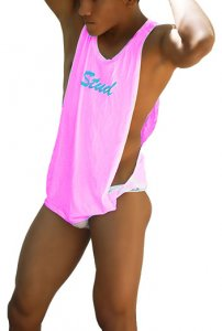 Icker Sea Stud Large Armhole Tank Top T Shirt Pink/Sky CA-16-ST-49