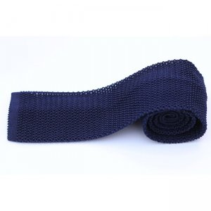Charles Owo Solid Navy Knitted Tie Blue 1341574