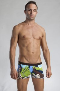 Geronimo Shallow Low Rise Boxer Floral Square Cut Trunk Swimwear Blue/Brown/Green 1116B2