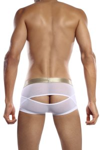 Petit-Q Back Cut Out Sheer Boxer Brief Underwear White Pq12