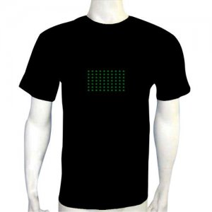 LED Electro Luminescence Green Lattice Funny Gadgets Rave Party Disco Light T Shirt 12053