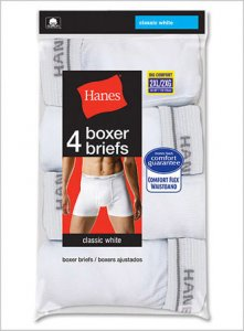 Hanes [8 Pack] Solid Boxer Brief Underwear White V-2349B4-8P