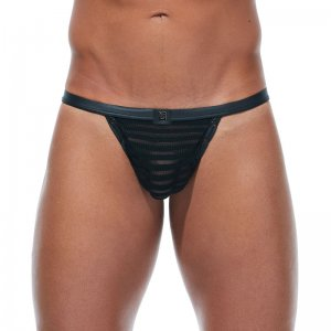 Gregg Homme JAILHOUSE Mesh Stripe Laced Back Thong Underwear...