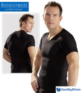 Svenjoyment Figure Shaping V Neck Short Sleeved T Shirt Black 2160730