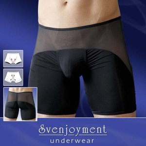 Clearance Svenjoyment Unique Powernet Enhancement Long Boxer Brief Underwear Black 2131633