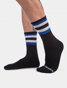 Barcode Berlin Fetish Stripes Half Socks Black/Royal/White 9...