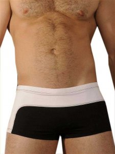 Good Boy Gone Bad Mel Square Cut Trunk Swimwear Black/White