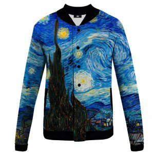 Mr. Gugu & Miss Go Starry Night Unisex Baseball Jacket BJCS1253