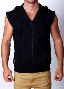 Gym Clothing Cut Off Sleeveless Zip Hoody Sweater Black