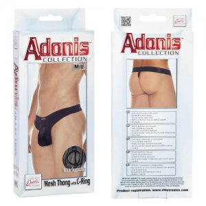 Adonis Mesh With C Ring Thong Underwear Black SE4529