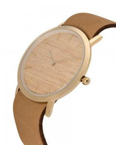 Analog Watch Classic Silverheart Wood Dial & Tan Strap Watch...