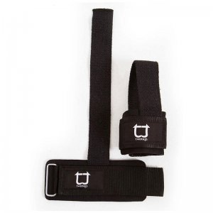 Twotags Weight Lifting Grip Straps Sportswear Black