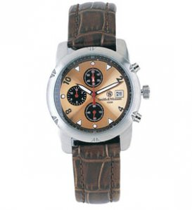 Smith & Wesson Leather Strap Stainless Chronograph Watch Gold SWW-08