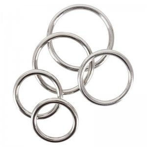 Bad Kitty Set Of 5 Seamless Cock Rings Silver 0526177
