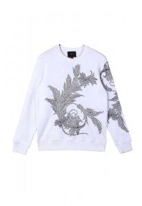 Spy Henry Lau Flower Embroidered Long Sleeved Sweater White ...