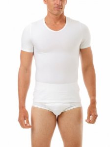 Underworks Shapewear MagiCotton V Neck Compression Short Sleeved T Shirt White 985100