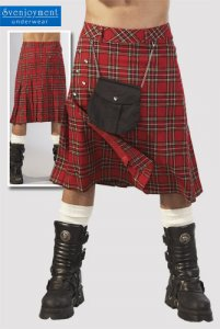 Svenjoyment Knee Length Checker Kilt 2140047