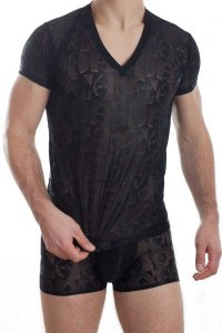 L'Homme Invisible Picasso V Neck Short Sleeved T Shirt Black MY61-PIC-001