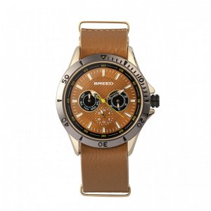 Breed Dixon Leather-Band Watch w/Day/Date - Gold/Light Brown...