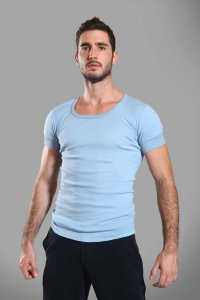 Buns Plain Short Sleeved T Shirt Light Blue G-60-VN-4-COT-35