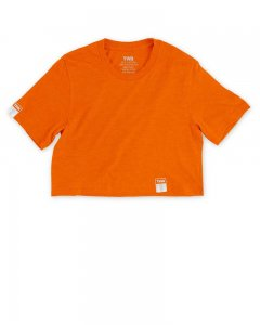 The Well Branded Classix Crop Top Short Sleeved T Shirt Neon Orange