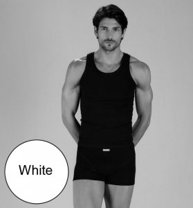Minerva [2 Pack] Sporties Eco Vest Muscle Top T Shirt White 12014