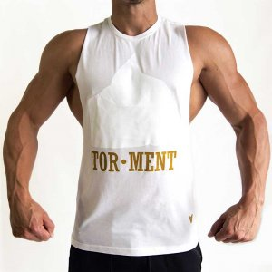 Bullywear Tor-Ment Muscle Top T Shirt White TOR1HS