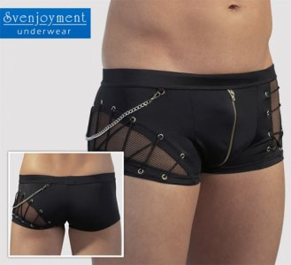 Svenjoyment Sheer Insert & Chain & Lace Zip Boxer Brief Underwear Black 2130890