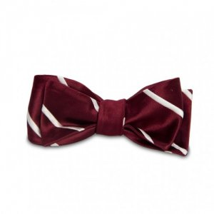Magnetie Satin Dotted / Stripe Reversible Bow Tie Rose BWR-R...