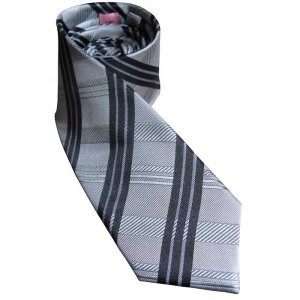 Distino Of Melbourne Burbesque Slim Nude Silk Necktie Grey N...