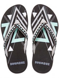 Boombuz Taiga Dressed Flip Flop Slippers Black/Grey