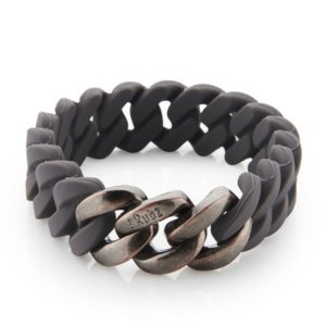 The Rubz Natural Silicone 15mm Unisex Bracelet Vulcano & Antique Rose Gold