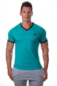 Bloke Undees Muscle V Neck Short Sleeved T Shirt Teal BTS-VNK-T