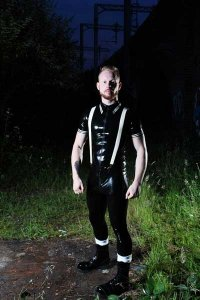 Mister B Rubber Leggings Zip Pants 362010