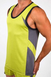 Pistol Pete Cross Fit Muscle Top T Shirt Lime/Grey MT112-208